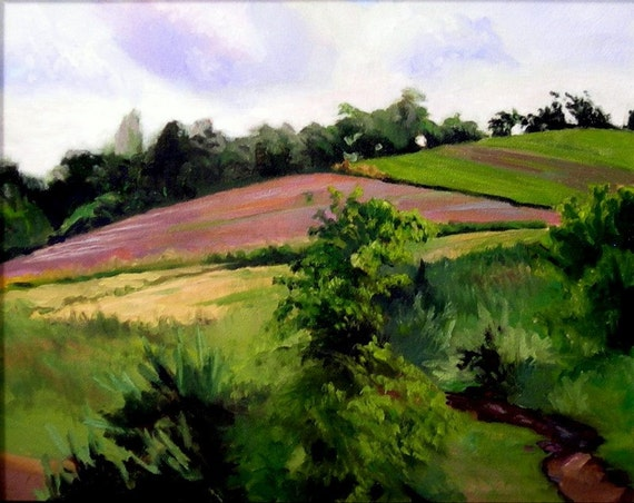 Spring landscape framed oil painting on canvas-Chenail Farm- 16x20