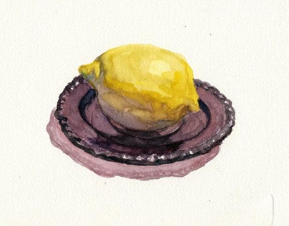 Watercolor painting, original still life, Lemon & Purple Dish 6 x8 in a 9 x 12 mat