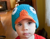 P is for Platypus - crochet beanie - newborn to adult
