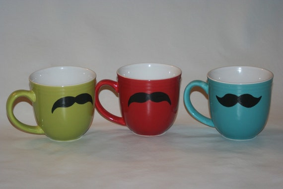 SALE 15% off - Mustache coffee mugs -  red and teal