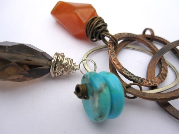 Three stone necklace... turquoise, adventurine and smokey quartz wire wrapped charm necklace on copper
