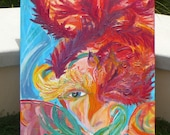 Aqua & Red Original  Large Painting Impasto tropical colorful feathers