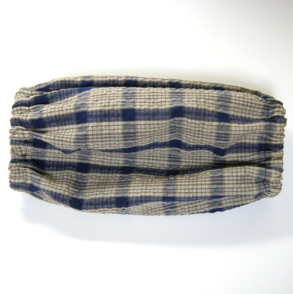 medium Dog Snood blue and tan plaid fabric miniture poodle size M
