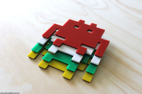 Invader Dudes from Outer Space Acrylic Coasters