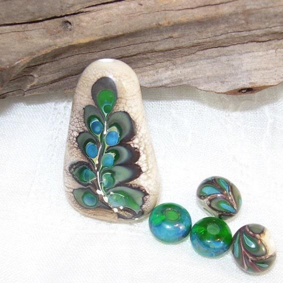 Destash...Handmade lampwork glass bead set. Fern leaf focal with fine silver. Set of 5.  Australian made SRA