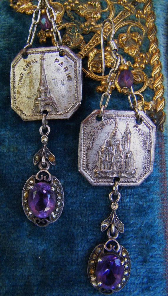 RESERVED FOR S French souvenir earrings Paris France sterling silver dangle chandelier genuine amethyst one of a kind jewelry assemblage