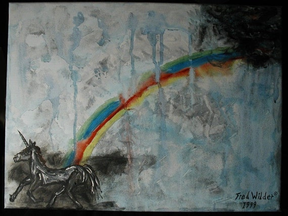 Unicorns come from a dangerous place, painting on canvas