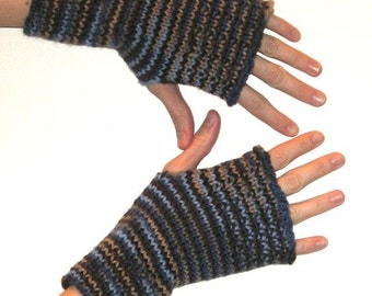 Pure Soft Wool Hand Knit Wrist Warmers Fingerless Gloves in 'wedgewood'