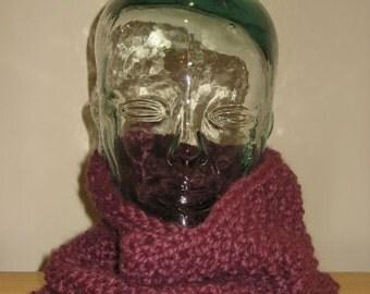 Cozy Cowl Wool Knit Neckwarmer in 'fig'