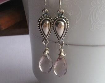 Ametrine dangle earrings, sterling silver, lux, wedding, bridal