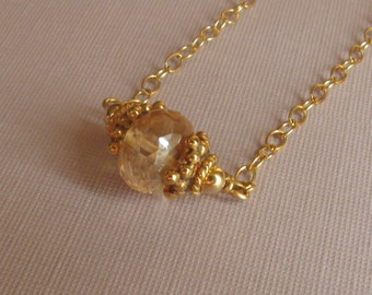 Gold filled necklace, champagne topaz  18 inches