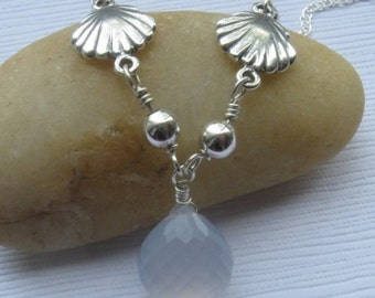 Natural chalcedony necklace sterling silver shell