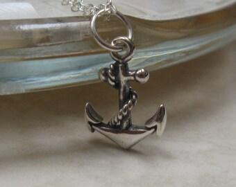 Silver anchor necklace, nautical, charm