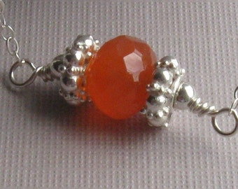 Carnelian rondelle necklace silver 18 inches