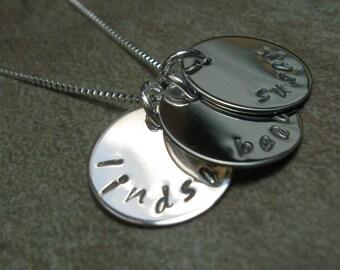 Sterling handstamped mommy necklace