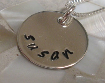 Handstamped personalized necklace - one disc sterling silver