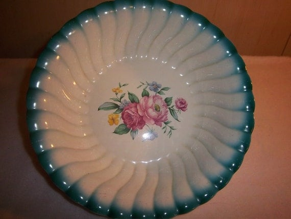 SALE---Vintage Homer Laughlin Serving Bowl, Floral Center with Teal Rim