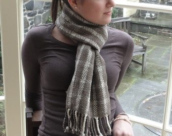 Woven Merino Scarf in Natural White and Chocolate Brown Wool