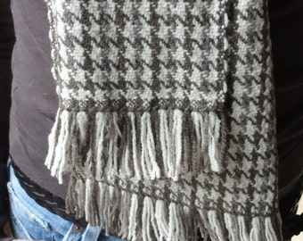 Woven Merino Scarf in Natural Taupe, Rich Chocolate Brown and White Wool with Knotted Fringe