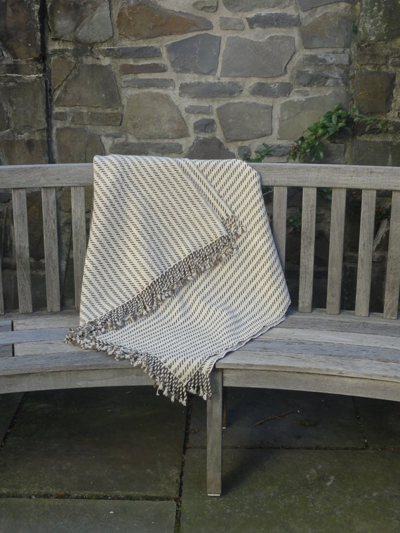 Woven Merino Blanket in White and Chocolate Brown Wool