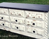 Custom Order Ivory and Black Distressed Dresser/ Tv Stand/ Buffet/ Changing Table