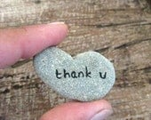 Thank you card - Personalized Genuine heart shaped Beach stone rock pebble