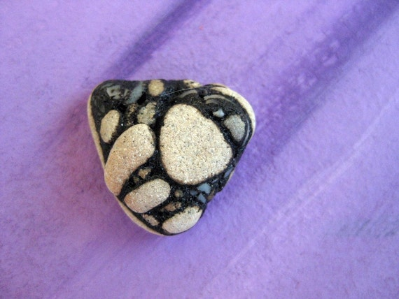 A special Beach rock Pebble Stone with tar  - FREE SHIPPING