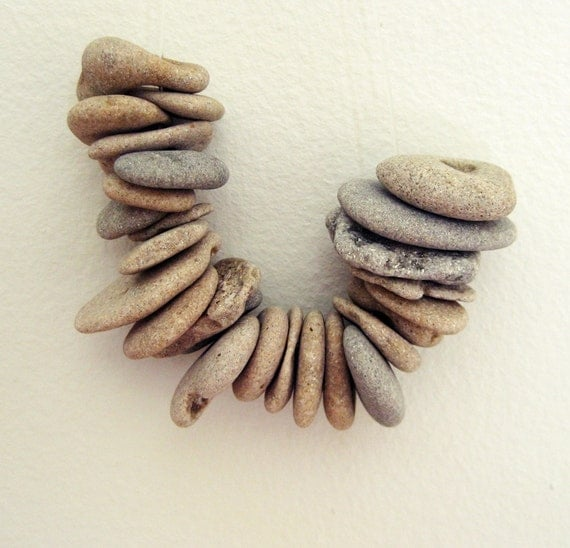 Diy Supplies - Holy Rocks - Natural Drilled Beach Rocks - Genuine beach rocks - 25 rocks / stones from the Mediterranean sea -MedBeachStones