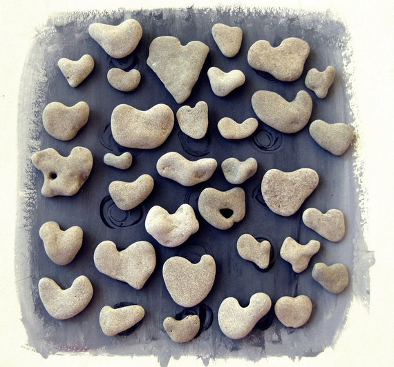 Beach Wedding Table Decoration - 33  genuine heart shaped beach stones pebbles by MedBeachStones