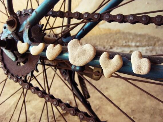 unusual fridge magnets - 5 eco upcycled heart shaped rocks