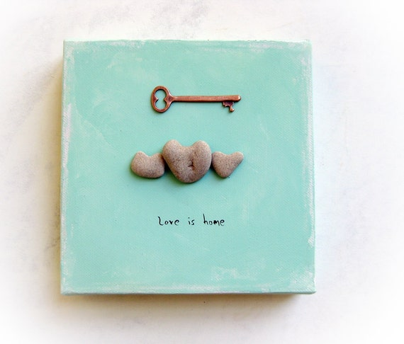 Unique OOAK 3d Wall Decor - Love Is Home -  genuine Heart shaped Beach stone rock