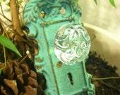 Wall Hook / Wall Hanger / Shabby Chic  Mint Green Antiqued Hook