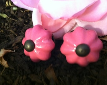 Drawer Pulls, Drawer Knobs, Hot Sassy Pink Shabby Chic Knobs - Set of 2