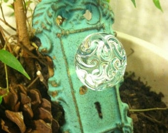 Wall Hook / Wall Hanger / Shabby Chic  Mint Green Antiqued Hook/ Home and Garden Decor
