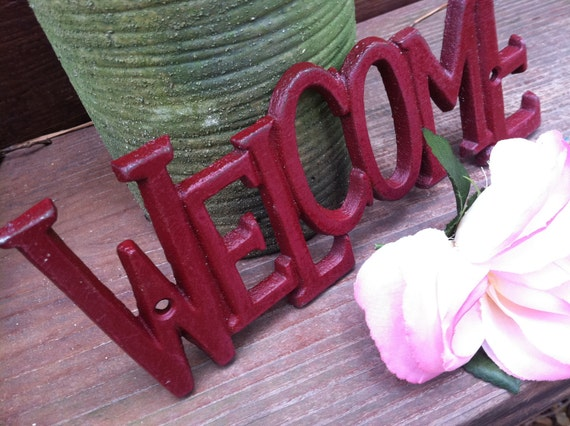 Welcome Sign/ Cast Iron Wall Decor/ WeLCoMe Sign Decor/ HarDWAre IS inCLUded/ Home and Garden Decor