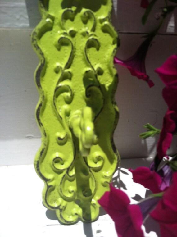 Wall Hook / Wall Hanger / Shabby Chic Hook / Key Wall Hook / Green Wall Hook