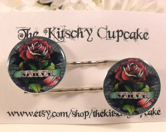 Tattoo rose hair clips
