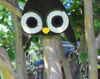 Dark Brown and Olive Green Owl Earflap Hat - newborn, toddler, child