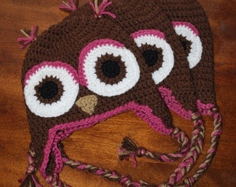 Owl Earflap Hat - Brown and Rose - newborn, toddler, child