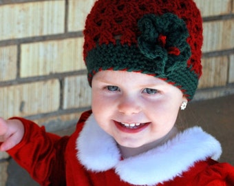 Christmas Cluster Beanie with Wreath Embellishment - Available in a variety of sizes