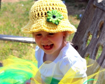 Brimmed Crochet Sun Hat - Yellow or Customize your favorite color