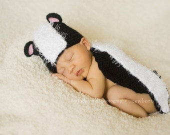 Lil' Stinker Skunk Cuddle Critter Cape Set  Newborn Photography Prop