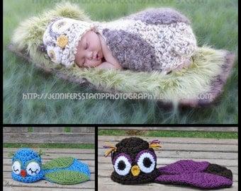Instant Download Crochet Pattern - No. 12 - Owlette Owl - Cuddle Critter Cape Set  - Newborn Photography Prop