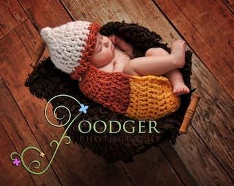 Instant Download Crochet Pattern -Candy Corn- Cuddle Critter Cape Set  - Newborn Photography Prop -