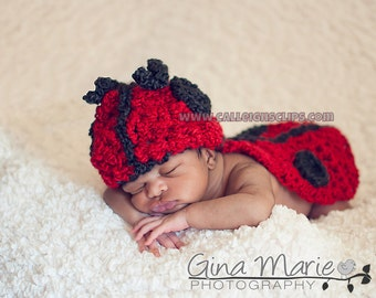 Instant Download Crochet Pattern No. 5  Ladybug - Cuddle Critter Cape Set  - Newborn Photography Prop