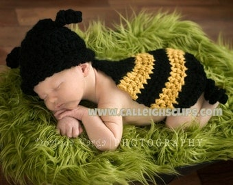 Instant Download Digital Crochet Pattern No. 6 Bumble Bee -Cuddle Critter Cape Set  - Newborn Photography Prop