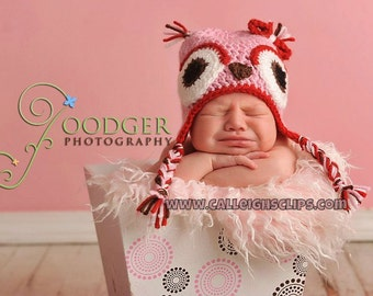 Sweetheart Owl earflap hat - infant, toddler, & kids