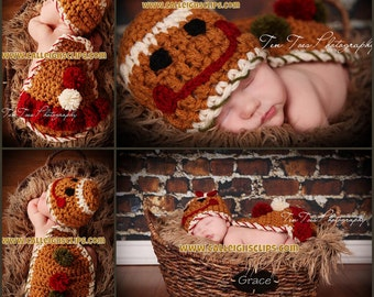 Instant Download Crochet Pattern- No 44 Gingerbread boy & girl - Cuddle Cape Set  -Photography Prop
