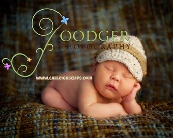 Nubby Newsboy Cap- Ivory Tweed - Newborn - Toddler