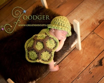 The Original Crochet Hatchling Turtle Cuddle Critter Cape Set Newborn Photography Prop